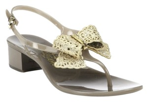 Salvatore Ferragamo Sf Perala Jelly Bow Rubber Thong Flat Gold Golden Grey Gold Sandals