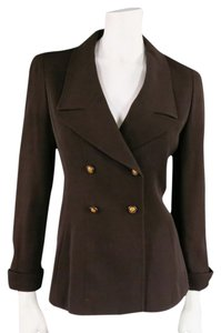 Chanel Double Breasted Gold 90s 1990 Lapel Brown Blazer