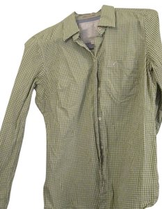 American Eagle Outfitters Checked Button Down Shirt Green White Gingham