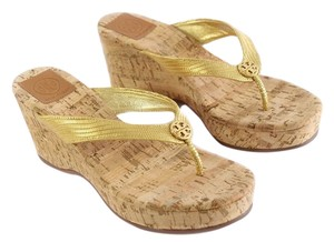 Tory Burch 75mm Metallic Suzy Sandals Sandals Sandals Gold Wedges