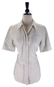 Elizabeth and James Button Down Shirt Beige Striped