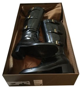 Gucci $1590 Buckle Patent Leather Black Boots
