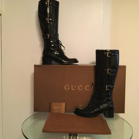 Gucci Buckle Patent Leather Black Boots