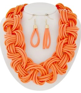 NENA Neon Orange Cord Necklace and Earrings