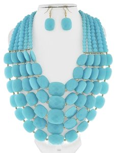 DaVinci Bridal Turquoise Acrylic Multi Row Necklace & Earrings