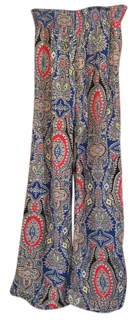 Preload https://item3.tradesy.com/images/flare-floral-fun-dinner-festive-blue-red-yellow-full-length-long-sexy-summer-fall-spring-winter-rela-5538217-0-2.jpg?width=400&height=650