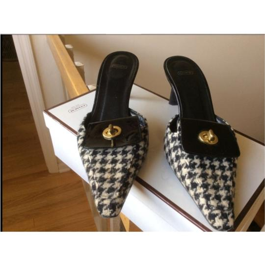 Coach Houndstooth black/white Mules