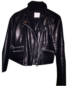 Mango Black Genuine Leather!! Leather Jacket