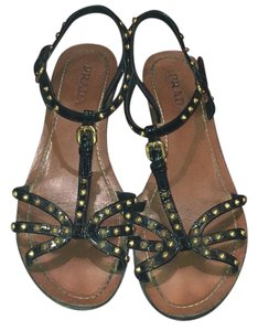 Prada Studded Patent Leather Sandal Black Sandals