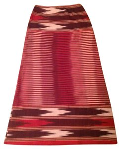 Calypso St. Barth Maxi Skirt Red, soft black, and cream