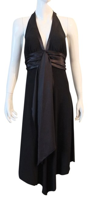 Item - Black Comfortable Stretch Material High-low Cocktail Dress Size 8 (M)
