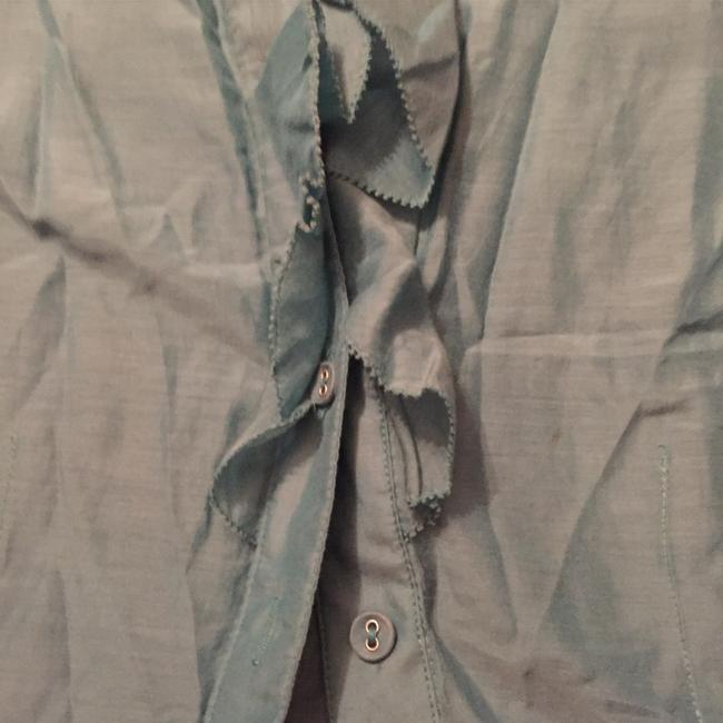 Banana Republic Ruffles Buttons Button Down Shirt Blue Green