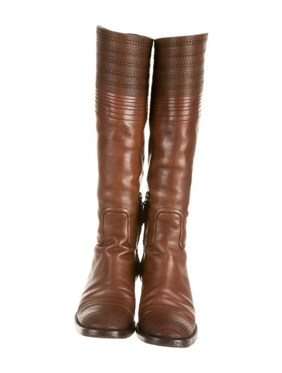 Jil Sander Riding Stitched Spanish Brown Boots