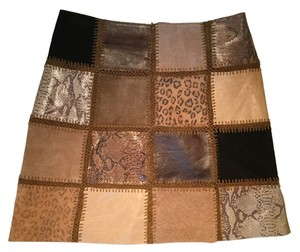 Hugo Buscati Leather Animal Print Patchwork Mini Skirt Brown