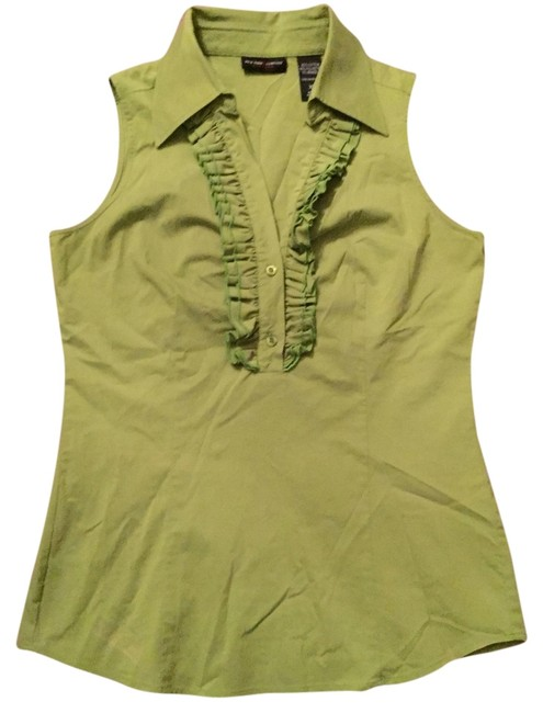 New York & Company Ruching Collar Eyes Rouching Ruched Top Light Green