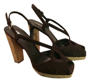 Prada Suede Vivid Color One Of A Kind Style Classic moro (dark brown) Sandals