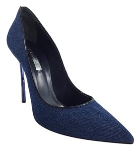 Casadei Denim Skinny Heels Blue Pumps