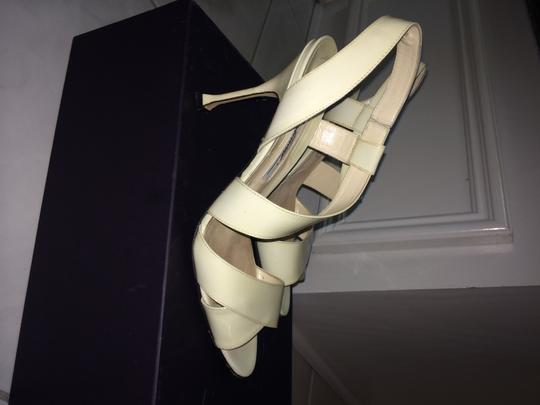 Brian Atwood Anabel Patent Very Comfortable white Sandals