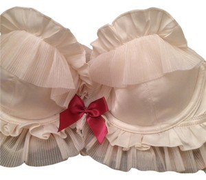 Victoria's Secret sexy little thing white and pink bow ruffle bra 34B