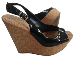 Jessica Simpson Black/Cork Wedges