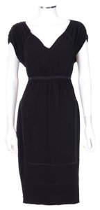 Prada Black Cap Sleeve Grecian Cocktail Dress
