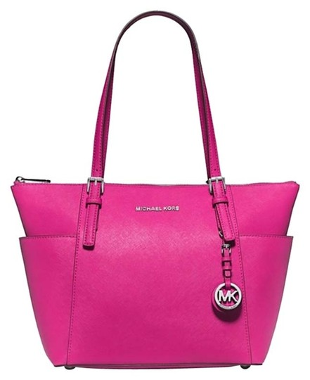 Michael Kors Tote in Raspberry/Silver