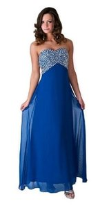 Blue Chiffon Crystal Beads Bodice Open Back Long Formal Bridesmaid/Mob Dress Size 8 (M)