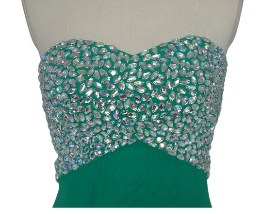 Green Chiffon Crystal Beads Bodice Open Back Long Formal Bridesmaid/Mob Dress Size 8 (M)