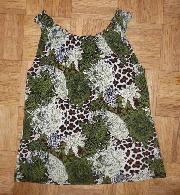 Other Flowers Cheetah Top Green, Brown, Black, Ivory