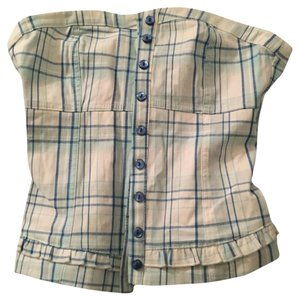 Divided by H&M Cute Plaid Sexy Corset Ruche Ruching Top Blue and White
