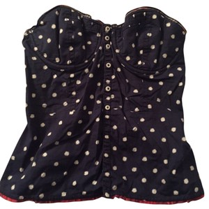 Gilly Hicks Corset Sweetheart Top Blue and White Polka Dots