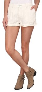 Free People Dye Linen Alabaster Mini/Short Shorts White