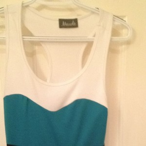 Maude short dress Tan Bottom With Black, Turquoise And White Bodice on Tradesy