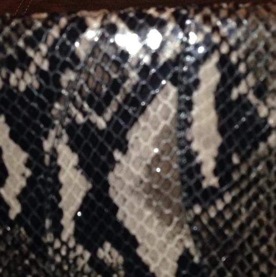 Alexis Hudson Snake Zipper Animal Print Reptile Black Gray Clutch