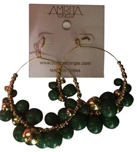 Amrita Singh Amrita Singh Gold Hoops With Green Baubles