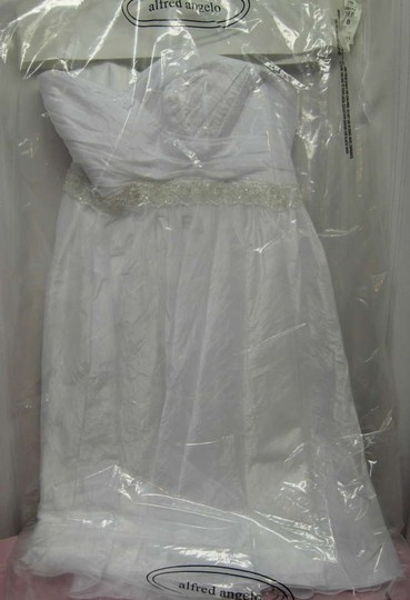 Alfred Angelo White & Silver Wedding Dress Size 8 (M)