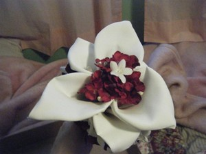 White & Red Bridesmaid Silk Cala Lilly Bouquet