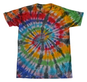 Tie Dye T Shirt Red, Orange, Yellow, Green, Blue, Indigo with Grey Accents