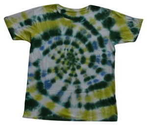 Festival Casual Relaxed Relax T Shirt green and blue