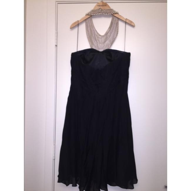 Aidan Mattox Pearl Rhinestone Sparkle Studded Chiffon Cocktail Fitted Bib Necklace Pleated Plus-size Flowy Detail Crystal Party Dress