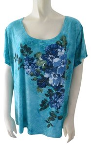 dressbarn Plus-size Floral Top Blue