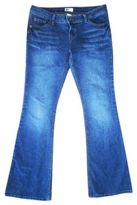 SO Faded Stretch Denim Low-rise Flare Leg Jeans-Distressed