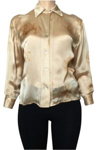 Ellen Tracy Button Down Shirt Gold