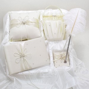 Ivory Cream Crystal Accent Bridal Wedding Guess Book Signing Pen Basket And Ring Bearer Pillow Bridal Wedding Set