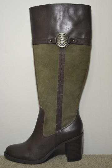 Etienne Aigner Leather High Hill Knee High Brown/Green Boots