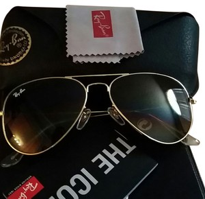 Ray-Ban Ray-Ban brown lenses gold frame with accessories
