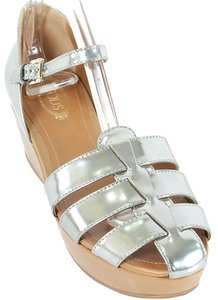 Tod's Leather Woven Metallic Silver, Tan Wedges