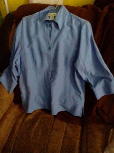 Joanna Monogram Button Down Shirt Blue