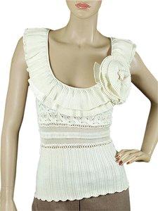 Catherine Malandrino Crochet Applique Knit Top White, Ivory