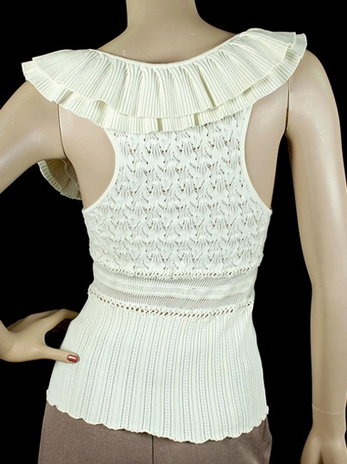Catherine Malandrino Crochet Applique Knit Sleeveless Charm Floral Top White, Ivory